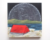 With the Sky mounted print - Camping on the Beach with stars and constellations wooden art block