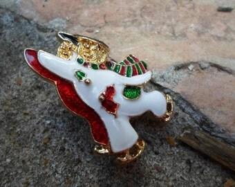 Vintage Snowman Skating Christmas Pin or Brooch