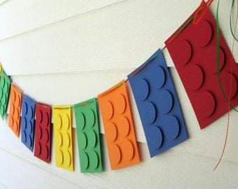Birthday Banner Building Blocks Party Decor