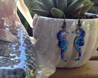 Vintage Enameled Dangling Seahorse Earrings ~ Seahorse Earrings At Hope Knows Vintage ~ Seahorses