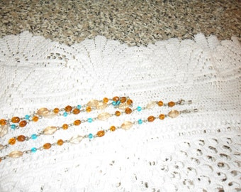 Authentic Vintage Multi Color Glass Silver Eyeglass Lanyard And Necklace