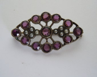 Stunning Antique Amethyst & Seed Pearls Sterling Silver Brooch Pin