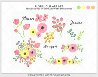 Watercolor Flowers Clipart, Hand Painted Floral Clip Art, Bouqet Clipart, Digital Watercolor, Flower Clip Art, Digital Wedding Floral Set
