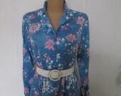 Big Dress Vintage / Large / Size EUR46 / UK18 / Buttoned Top / Pencil Dress / Elastic Waist / Belt
