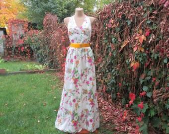 Cotton Dress / Long Dress / Dress Vintage / Open Back Dress / Side Pockets / Summer Dress / Size EUR 38 / UK10 / Maxi Dress / Floral