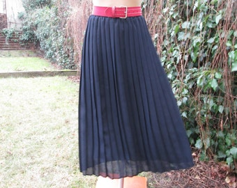 Long Pleated Skirt / Skirt Vintage / Pleated Skirt / Pleated Skirts / Black Pleated Skirt / Size EUR 42 / 44 / UK14 / 16