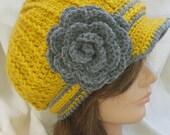 Crocheted Gold & Gray Newsboy Hat with gray flower - Photo prop, winter, beanie, crochet, gift, handmade