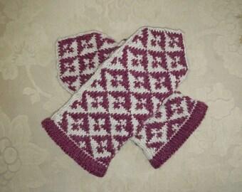 Raspberry & Cream Handknit Southwestern Patterned Mittens