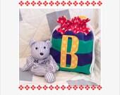 Personalized Drawstring Bag  Rugby Stripe  Ring Bearer Gift  PUL Lining  Flower Girl Gift  Kids Swimsuit Bag Gift Bag