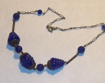 True Vintage Antique Art Deco Glass Necklace BLUE Beads Stunning Estate Rare