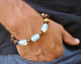 Men's Spiritual Healing, Fortune, Luck, Protection Bracelet with Semi Precious Tiger's Eye, Moonstone, Wood, Bohemian Good Fortune Bracelet