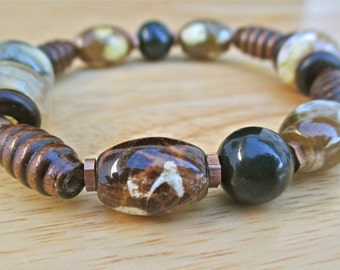 Men's Spiritual Love Protection, Courage, Good Fortune Bracelet with Semi Precious Fossil and Fire Agates, Tiger's Eye, Copper and Wood