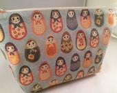 Light Blue Nesting Dolls Russian Dolls Makeup Bag, Cosmetic Case, Toiletry Bag, Knitting Project Bag, Babushka, Bridesmaid Gift