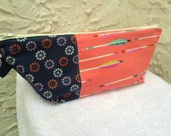 Pink Arrows Large Makeup Bag Cosmetic Bag Knitting Project Bag Crochet Project Bag