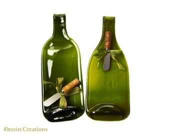 CUSTOM COLOR Two Wine Bottle Cheese Trays,  Wine Bottle Spoonrest, Melted Wine Bottle, Hostess Gift,  Dessin Creations
