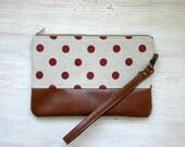 Wristlet Clutch Purse, Polka dot, Red Grey, Vegan, Retro, Minimalist, Every day purse