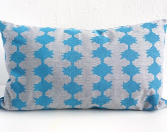 Blue Pillow Hand-Stamped Organic Cotton