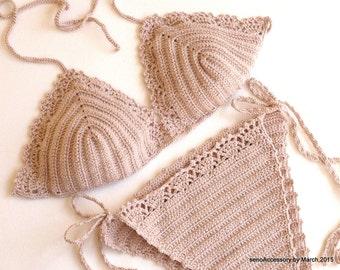 EXPRESS SHIPPING Powder Pink  2015 Swimwear Crochet Bikini Top Bikini Bottom Summer Fashion Tie Bikini Swimsuit  senoaccessory