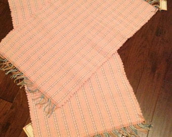 Handwoven Rag Rug, Woven Rug, Repurposed, Recycled Fabrics. A set of two matching rugs in a beautiful shades of pink.
