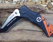 EMT Pocket Knife,TF640EM, Laser Engraved, Personalized Wedding Grooms Men, Birthday, Anniversary Gift.
