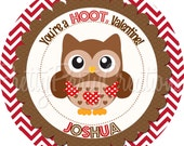SWEETHEART OWLS favor tags in brown and red - 5 to choose - YOU Print
