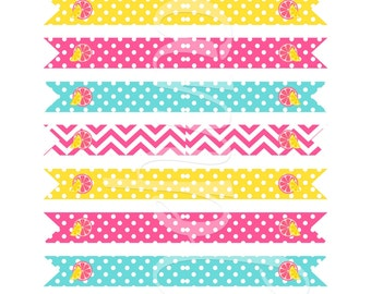 PINK LEMONADE  Straw Flags - INSTANT Download