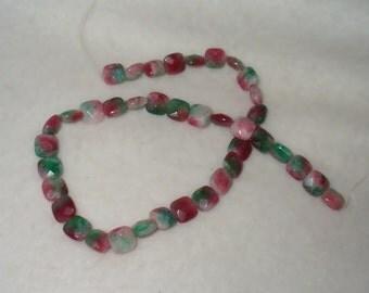 Faceted Jade  Beads - Full Strand, Tablet Shape