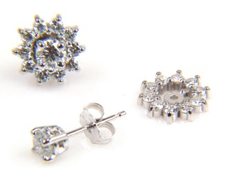 Earring Jacket - Diamond Earrings - Diamond Studs - Diamond Jackets - Diamond Earring Jackets - Round Diamond Earrings