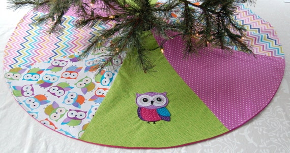 Owl CHRISTMAS TREE SKIRT green and purple Holiday Decor Owl Christmas Decorations christmas gifts under 50 felt owl decoration