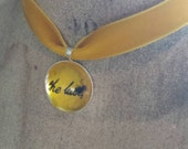 SALE was 16 now 12 - KB - Inspired  - BTD Silvertone Charm Confetti Collection Necklace on Golden Velvet Ribbon