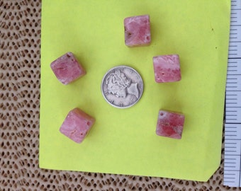 Rhodrocosite square 5 beads 70-80 cts per package.
