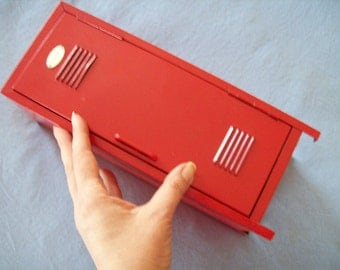 Vintage metal red painted school locker lidded miniature locker  tackle box shabby chic