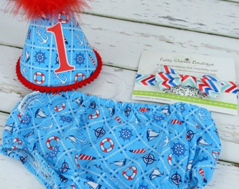 Baby Boy / Toddler First Birthday Cake Smash Diaper Cover Bow Tie Party Hat in Turquoise Nautical