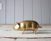 Vintage Large Brass Pig // Solid Brass