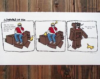 Adventures of Tim Comic Strip Screenprint Letterpress Quirky Whimsical Art Print Kids Decor Robot