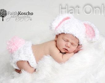 Crochet Baby Bunny Hat, Baby Newborn Hat, Newborn Beanie, Baby Bunny Hat, Newborn Prop, Bunny Beanie, Crochet Bunny Hat, Newborn Baby Hat