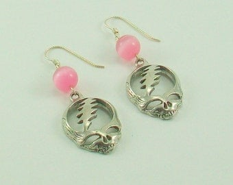 Grateful Dead Steal Your Face Earrings with Pink Beads and Sterling Silver Earwires