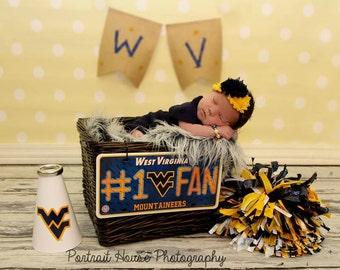 WVU baby elastic headband, blue and gold, baby headband, infant headband, newborn headband, girl headband, baby girl headband, hair clip