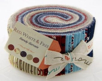 Red White and Free Jelly Roll by Sandy Gervais for Moda