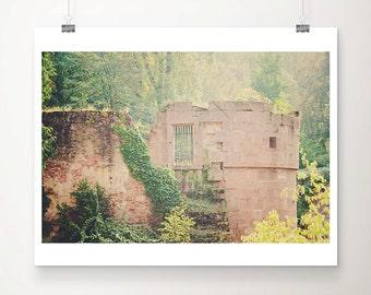 Heidelberg castle photograph Germany photograph Heidelberg print green leaf photograph woodland decor ruin photograph