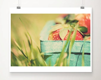 red strawberry photograph food photography kitchen wall art green grass photograph picnic photograph summer photograph strawberry print