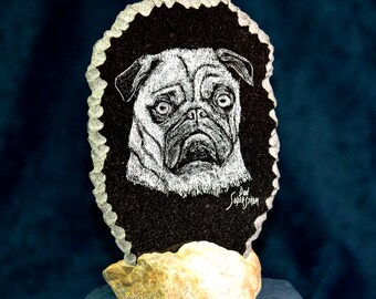 Pug dog hand etched on black granite