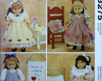 """McCall's Crafts 3275 18"""" DOLL CLOTHES CLOTHING Pattern - Fits American Girl Our Generation Carpatina Gotz Dolls"""