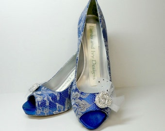 Sapphire Blue Heels, Blue Wedding Shoes, Silver Lace Bridal Shoes, Silver and Blue Shoes
