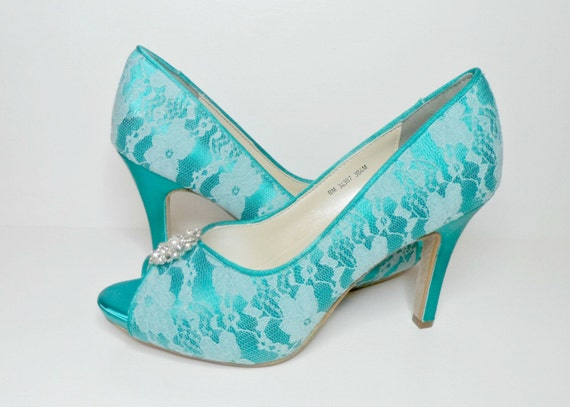 teal lace wedding shoes bridal shoes by lambsandivydesigns