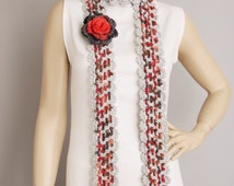 Crochet scarf , long scarf ,woman scarf,   with REMOVABLE  flower broch