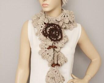 Khaki crochet  ruffle scarf ,long crochet scarf ,scarf