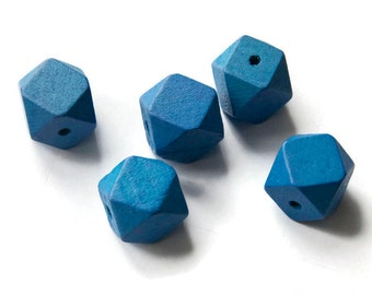 Blue Faceted Cube Wooden Beads, Geometric Wooden Beads 10 pcs W 70 032