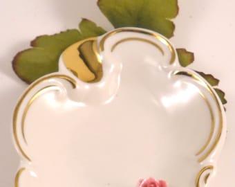 Sweet Little Porcelain Pink Rose Dish Vintage
