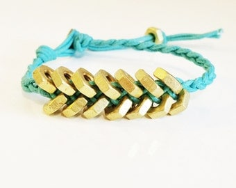 Hex Nut Bracelet, Gold + Teal